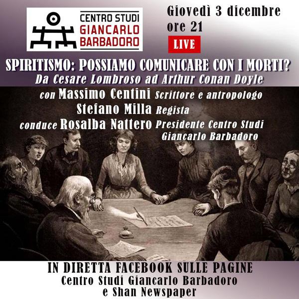 """Conferenza online """"Spiritismo: possiamo comunicare con i morti?"""" - Centro Studi Giancarlo Barbadoro - Giovedì 3 dicembre, ore 21"""